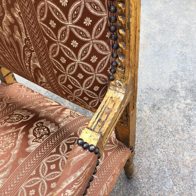 Red 1930s Vintage Imperial Gilded French Sofa and Chairs - Set of 3 For Sale - Image 8 of 11