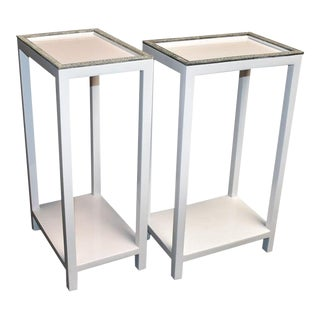 Pair of Side Tables With Shagreen Trim For Sale