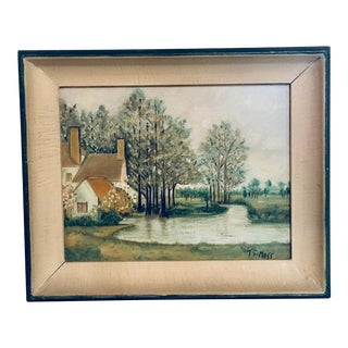 Early 20th Century Antique Green Framed Painting on Board For Sale