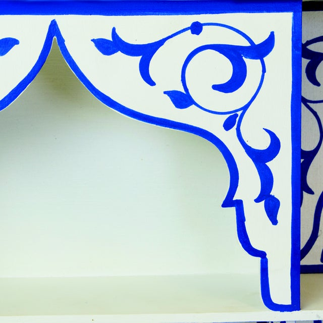 Boho Chic Bleu Majorelle on White Wall Shelf For Sale - Image 3 of 3