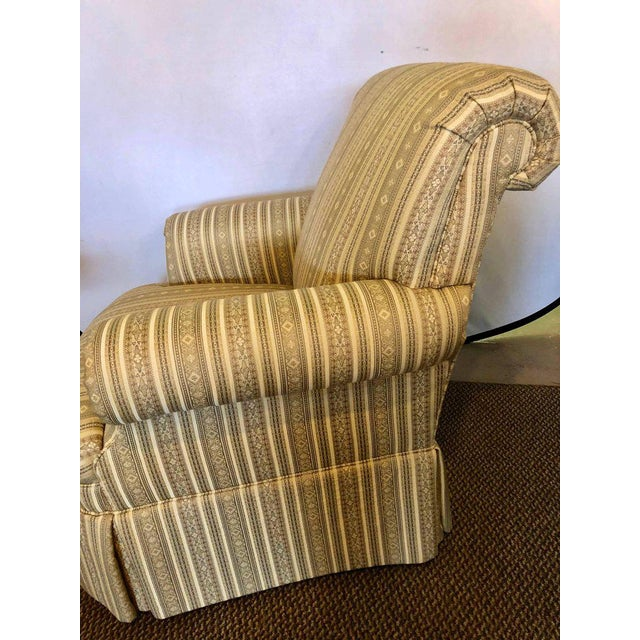 Hollywood Regency Pair of Hollywood Regency Style Custom Overstuffed Arm/Lounge Chairs Fine Fabric For Sale - Image 3 of 10