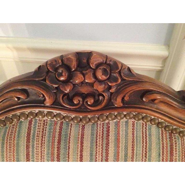 Pair of French Walnut Upholstered Armchairs For Sale - Image 4 of 11