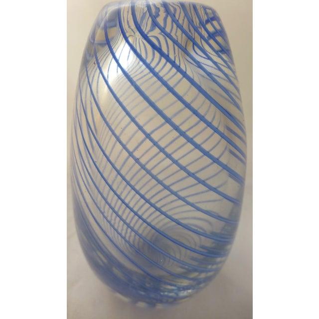 Murano Mid Century Glass Blue Swirl Vase - Image 7 of 9