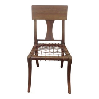 Modern Klismos Style Walnut Side Chair For Sale