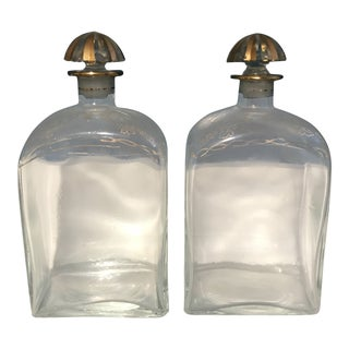 Decorated Victorian Glass Decanters - A Pair
