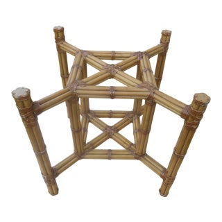 Vintage McGuire Bamboo & Rattan Dining Table / Base For Sale