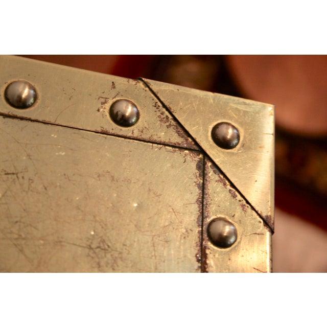 Sarreid-Style Brass Studded Pedestal (Smaller Pedestal Only) - Image 9 of 11