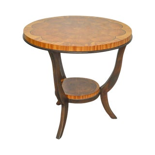 Henredon Round Satin Wood & Flame Mahogany Regency Style Side Table