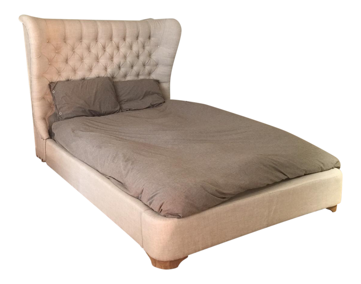 Restoration Hardware Churchill Queen Size Linen Tufted Wingback Bed