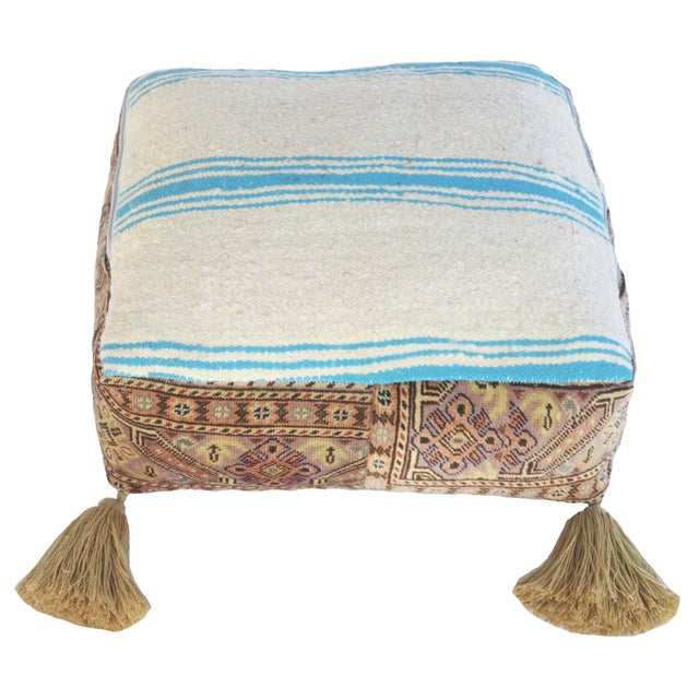Textile Vintage Turkish Honey Wool Pouf For Sale - Image 7 of 8