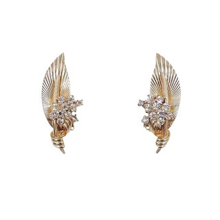 Late 1950s Signed Boucher Rhinestone Leaf Earrings For Sale