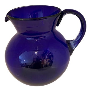Large 1980s Hand Blown Cobalt Pitcher For Sale