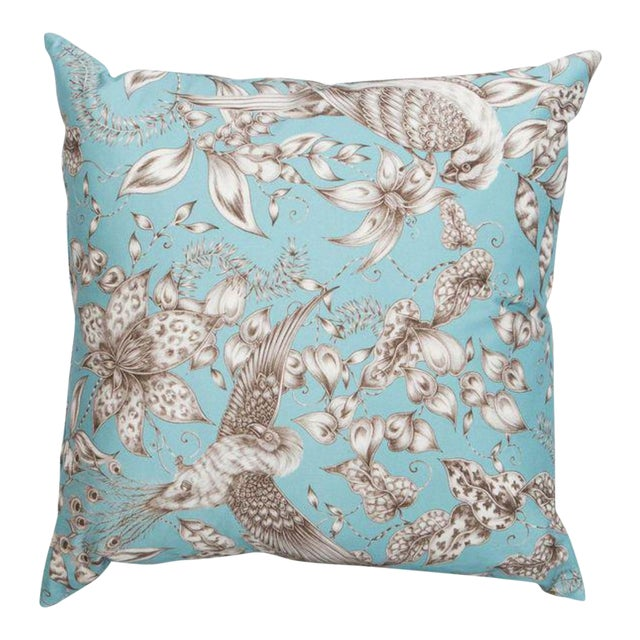 Blue Bird & Floral Pillow - Image 1 of 4