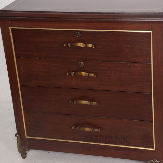 Brass Mexican Modernist Mahogany and Bronze Credenza Dresser Attributed Arturo Pani For Sale - Image 7 of 10