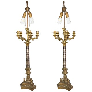 Empire Style Glass Column Form Candelabra Lamps - a Pair For Sale