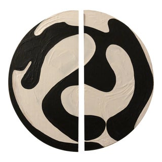 Black and White Modern Ying Yang Abstract Circle Diptych For Sale