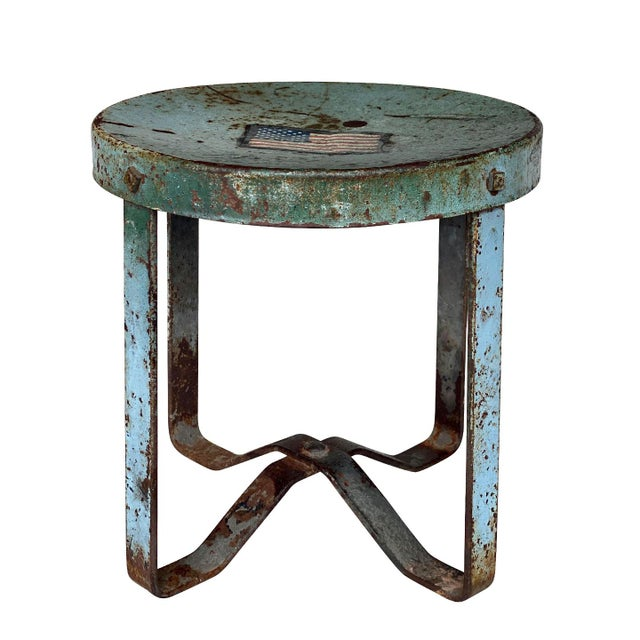 Vintage Rustic Farmhouse Aluminum Metal Low Milking Stool For Sale - Image 9 of 9