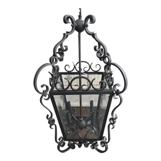 Spanish Colonial Style Wrought Iron and Glass Lantern For Sale