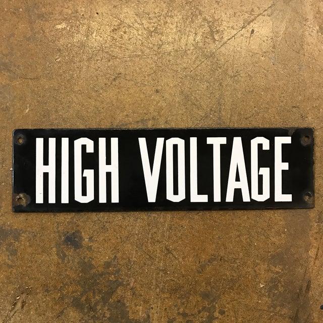 Vintage Industrial Enamel High Voltage Sign - Image 2 of 5