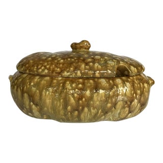 Yellow Brown Vintage Drip Glaze Soup Tureen For Sale