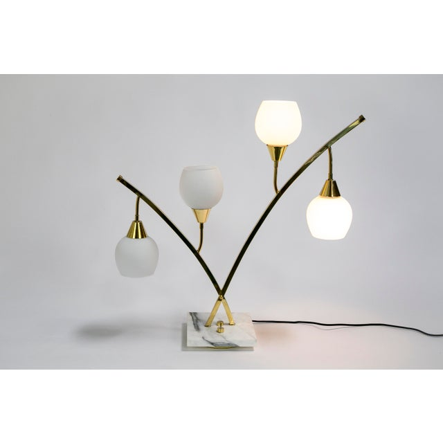 White Expansive Narrow Brass & Marble Mid-Century 4-Light Table Lamps W/ Glass Shades For Sale - Image 8 of 10