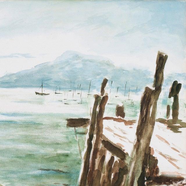 Mid-Century Modern Harold Guthman Vintage 1973 Safe Harbor Painting For Sale - Image 3 of 7