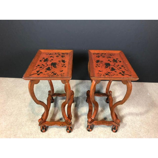 Wood Lacquered and Painted Tray Top Side Tables - a Pair For Sale - Image 7 of 11