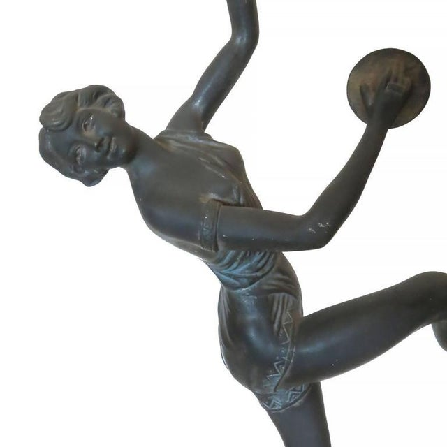 Art Deco Alliot Style Bronze Figural Statue of a Dancer with Cymbals - Image 4 of 6