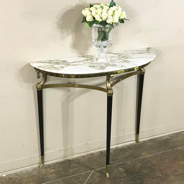 Mid-Century Inlaid Marble & Brass Demilune Console For Sale - Image 4 of 12