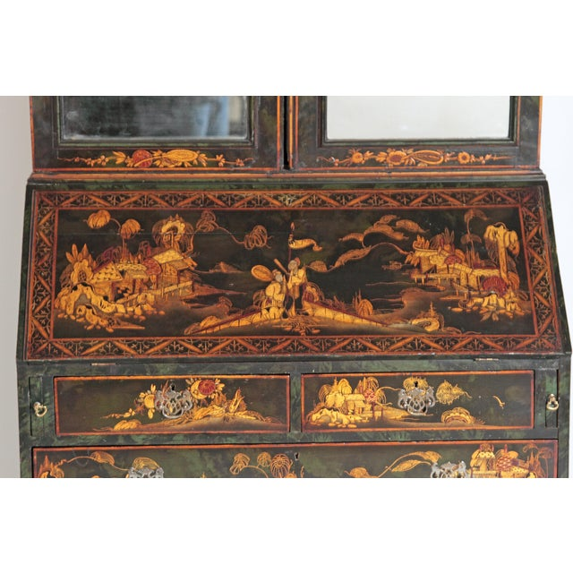 Glass English Chinoiserie Secretary With Mirrored Doors For Sale - Image 7 of 13