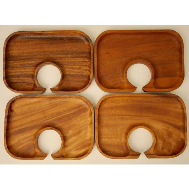 acacia wood canap trays set of 4 chairish