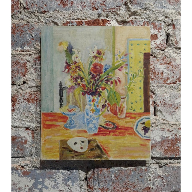 Jules Cavailles -Still Life of Flowers and a Mask -Study Oil Painting-1956 For Sale - Image 10 of 10
