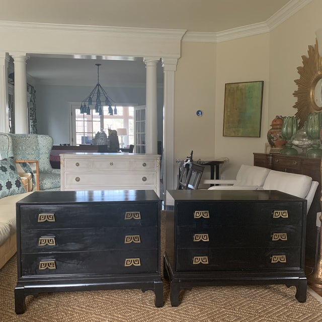 Black Lacquered Chinoiserie Chests With Brass Pulls- a Pair For Sale - Image 13 of 13