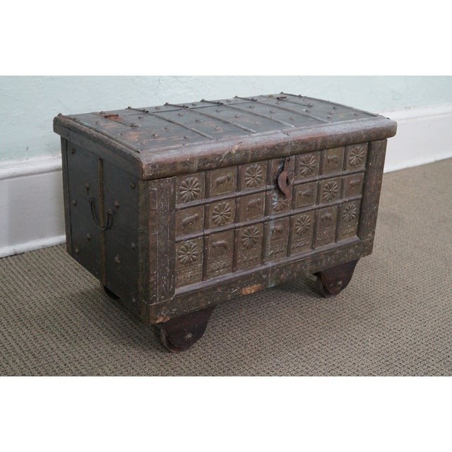 Antique Moroccan Iron & Brass Bound Lidded Chest - Image 2 of 10