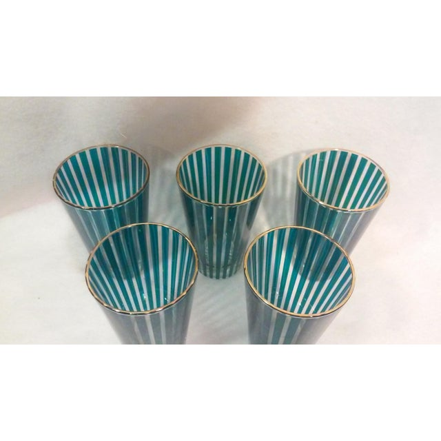 Contemporary Mid Century Green Stripe Bar Set, Six Pieces For Sale - Image 3 of 6