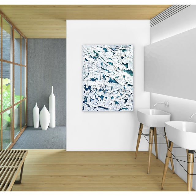 ''Spell'' Original Abstract Textured White and Blue Artwork by Shauna La For Sale - Image 9 of 10