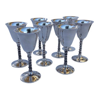 "Vintage Silver Plate Spanish ""Valerio"" Drinks Cordials - Set of 8 For Sale"