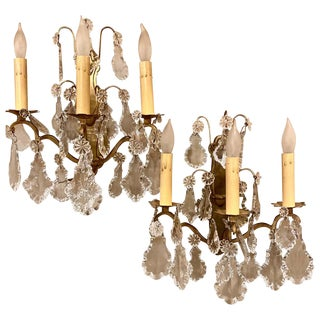 Gilt Bronze and Crystal Three-Light Wall Sconces French Early 20th Century, Pair For Sale