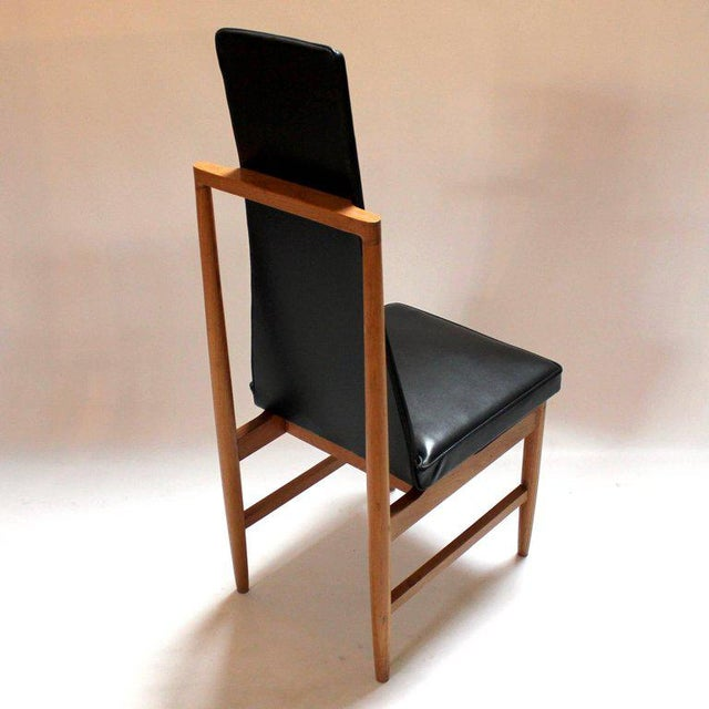Danish Modern Teak & Black Vinyl Tall-Back Dining Chairs - Set of 4 For Sale - Image 5 of 11