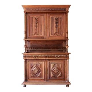 Antique French Renaissance Walnut Sideboard Hutch
