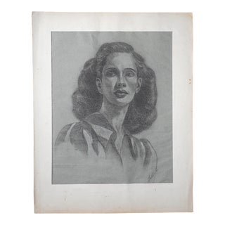 "Vintage Signed Charcoal Drawing-Portrait by E. Foster ""Pretty Woman"" 20.25""x25"" For Sale"