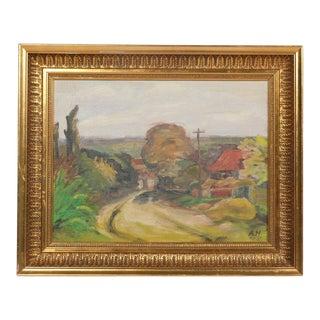 Mid-C. Expressionist Rural Village Road Landscape For Sale