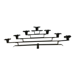 Art Deco Handmade Wrought Iron Menorah For Sale