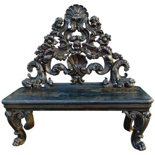 Period Italian Baroque Ebonized Bench For Sale