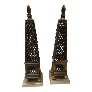 Mid-Century Mixed Metal Obelisks - A Pair For Sale