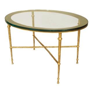 Postwar Design 'Giacometti Style' Gilt Bronze Patina Oval Coffee Table For Sale