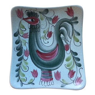 1970s Arabia Hand Painted Rooster Plate For Sale