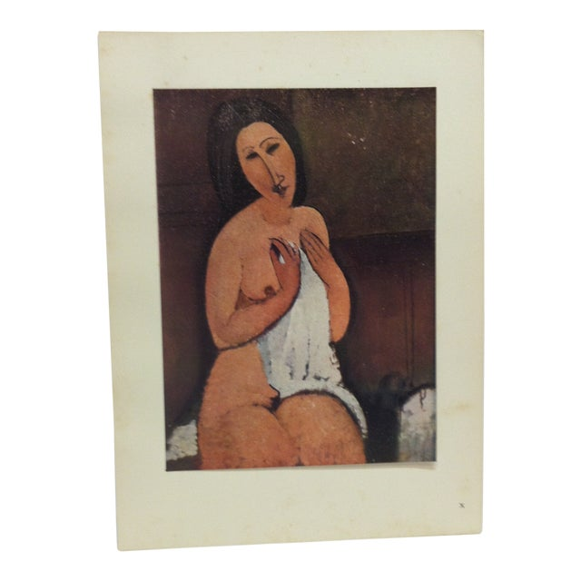 """1947 Vintage""""Nu Assis a La Chemise"""" Modigliani French Mounted Color Print For Sale"""