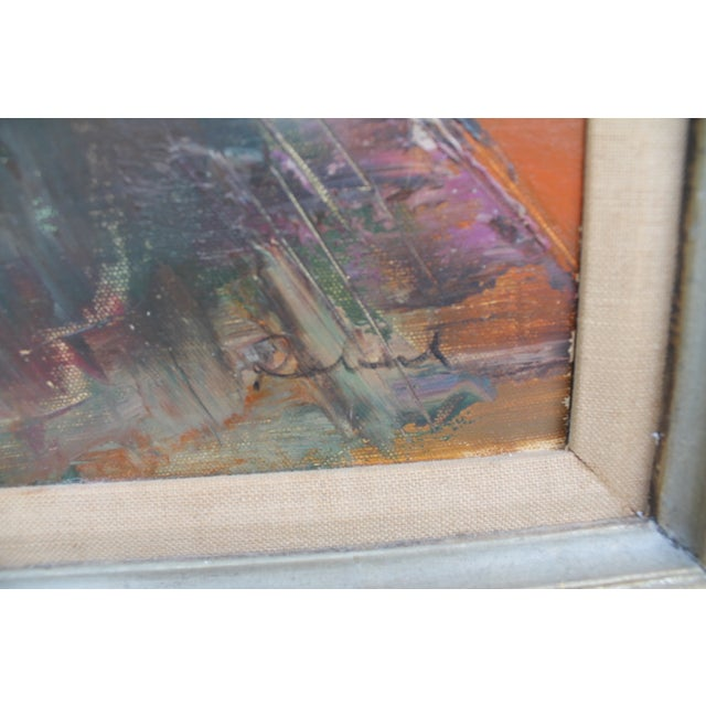 Expressionist Oil on Canvas Cityscape Painting For Sale - Image 7 of 9