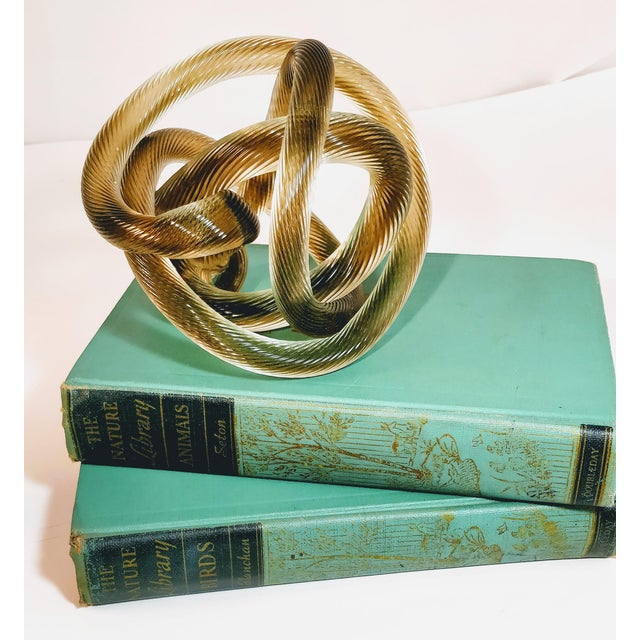 1950s Vintage Zanetti Murano Style Glass Knot Clear Rope Twist Sculpture For Sale - Image 4 of 7